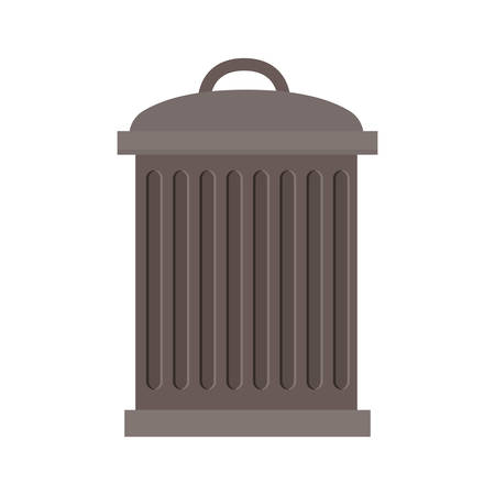 striated: trash bin with lid and striated vector illustration