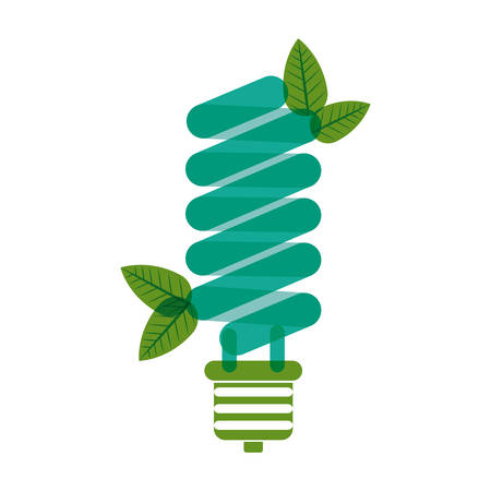 green bulb: green bulb fluorescent with leaves vector illustration