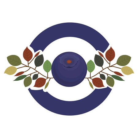 branch with big purple blueberry and wide line circle vector illustration