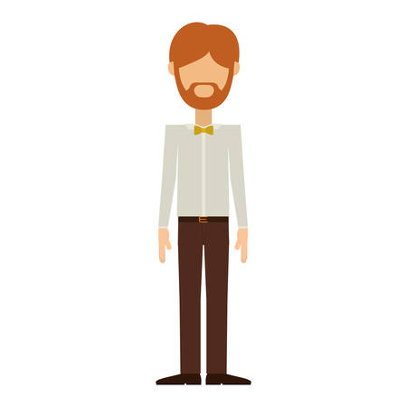 man in formal suit with beard without face vector illustration Illustration