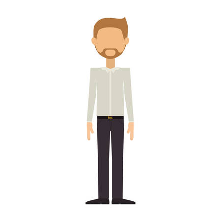 man in formal suit and beard padlock without face vector illustration