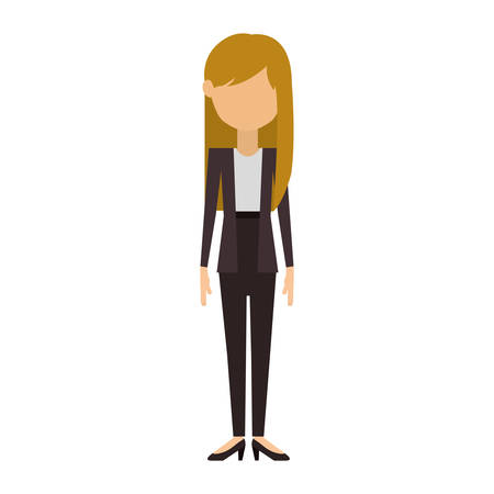 without legs: woman in costume with long blonde hair vector illustration