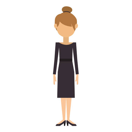 woman with dress and collected hair vector illustration