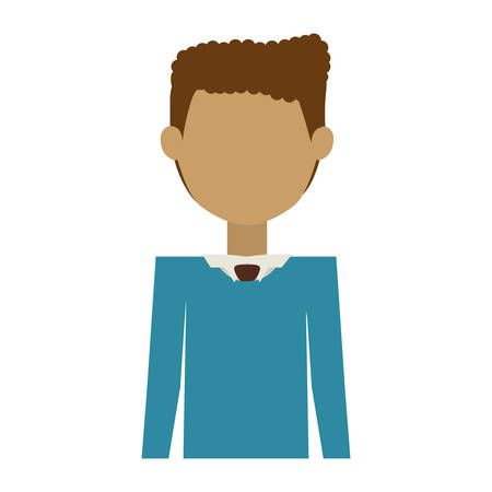 his shirt sleeves: half body man wearing formal suit without face vector illustration