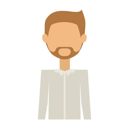 half body man in formal suit and beard padlock without face vector illustration Illustration