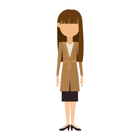 brunette: woman in dress and long brunette hair vector illustration