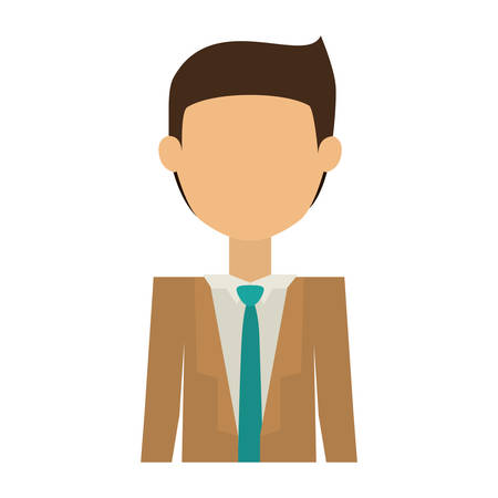 without clothes: half body man with suit without face and black hair vector illustration Illustration