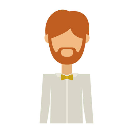 sexy male model: half body man in formal suit with beard without face vector illustration