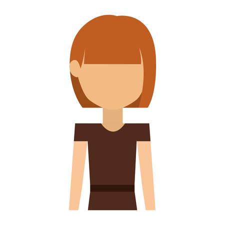 short hair: half body woman with dress and short hair redhead vector illustration