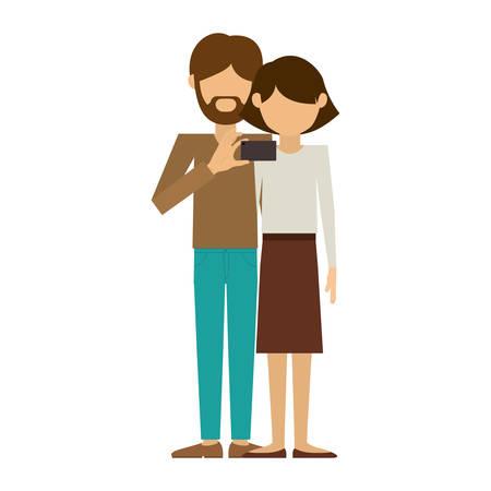 couple where man of beard take selfie vector illustration