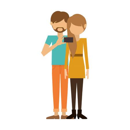 where: couple where man of beard padlock take selfie vector illustration Illustration
