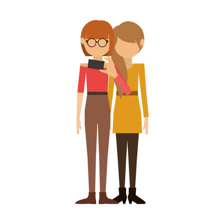 long hair boy: couple of women and redhead short hair take selfie vector illustration