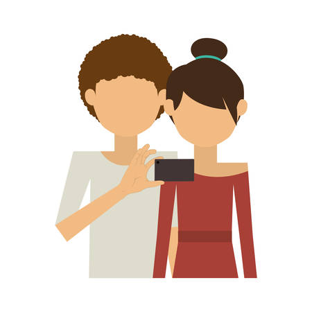 romantic getaway: half body of couple and curly man take selfie vector illustration
