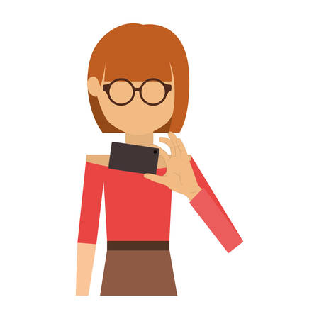 short hair: half body woman redhead short hair take selfie vector illustration