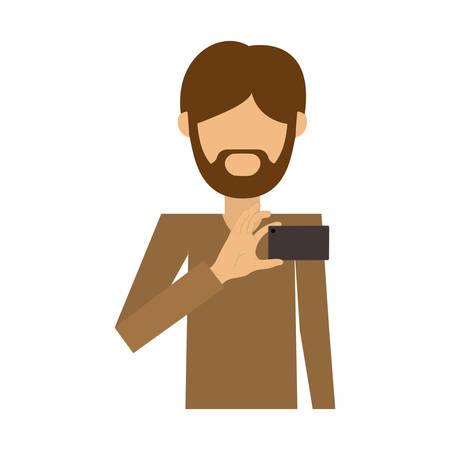 half body of man of beard padlock take selfie vector illustration Illustration
