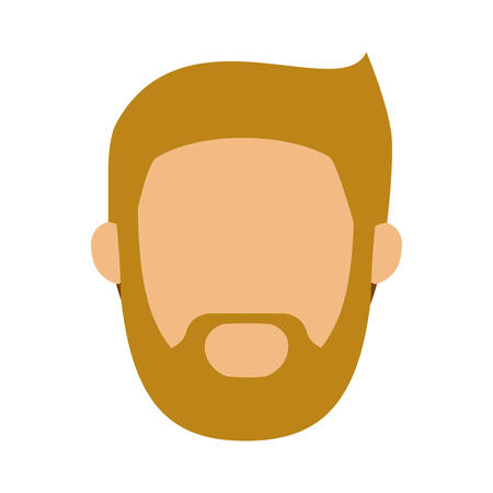 head man with beard without face vector illustration