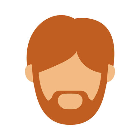 sir: head man with redhead beard without face vector illustration