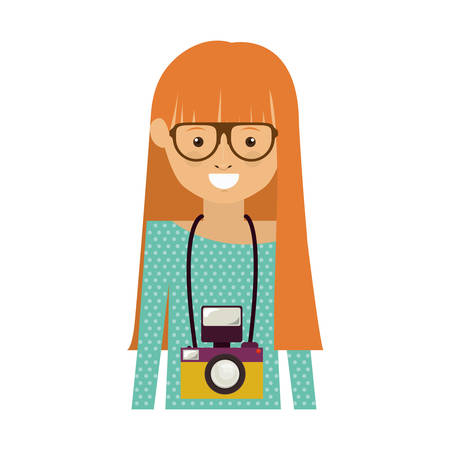 genuine: avatar hipster woman smiling with photographic professional camera around her neck over white background. vector illustration