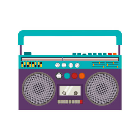 boombox: Classic 80s Boombox Portable Cassette Tape Player over white Background.  Vector illustration Illustration