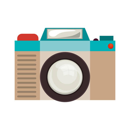 digicam: retro photographic camera device over white background. colorful design. vector illustration Illustration