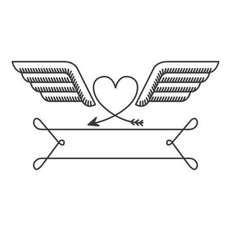 simbol: sagoma con il cuore araldico illustrazione simbolo vettoriale Vettoriali