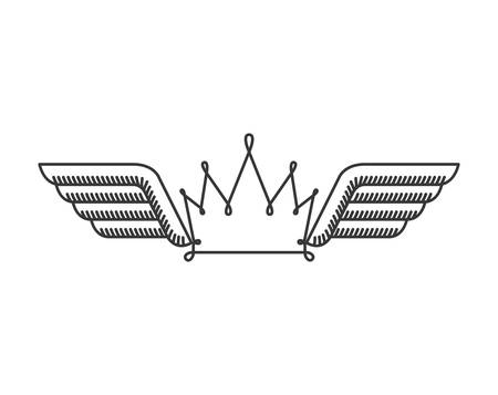 crown wings: silhouette with two wings and crown vector illustration