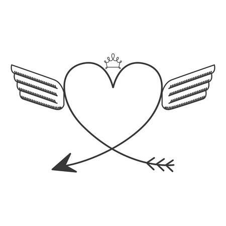 crown wings: silhouette with two wings heart and crown vector illustration