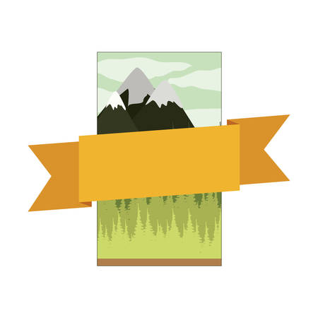 frame mountain landscape with central ribbon vector illustration