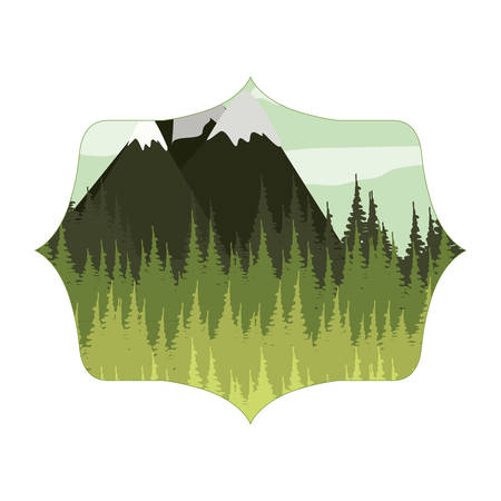 snowy: frame with forest and Snowy Mountains vector illustration