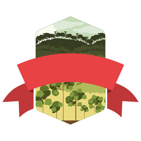 valley: frame mountain and valley with central ribbon vector illustration Illustration