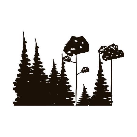 arboles frondosos: bosque blanco y negro con pinos y árboles de hoja ilustración del vector