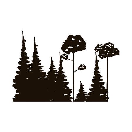 leafy: monochrome forest with pines and leafy trees vector illustration Illustration