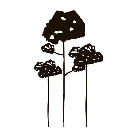 arboles frondosos: bosque blanco y negro con la ilustración del vector de árboles frondosos