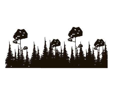 leafy: monochrome panoramic forest with pines and leafy trees vector illustration