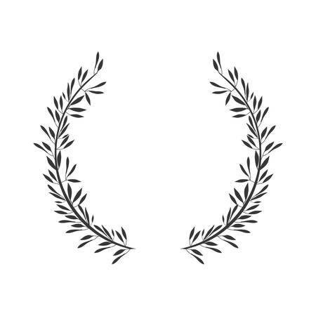 gray scale crown formed with two olive branch vector illustration Illustration