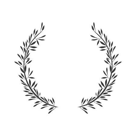 Gris escala corona formada con dos ramas de olivo ilustración vectorial Foto de archivo - 66413731
