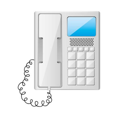 teléfono de la oficina gris con ilustración vectorial cable