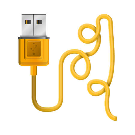 silhouette usb connector with wired vector illustration