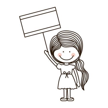 ponytail: silhouette girl holding poster with ponytail vector illustration Illustration