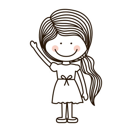 raised hand: silhouette girl with raised hand vector illustration