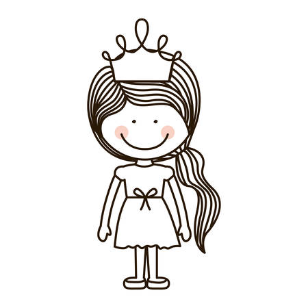 ponytail: silhouette girl standing with crown and ponytail vector illustration