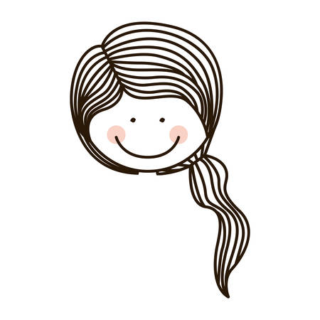 ponytail: silhouette face girl with ponytail vector illustration