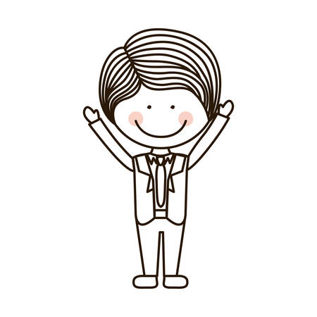 open arms: silhouette boy with open arms and formal suit vector illustration