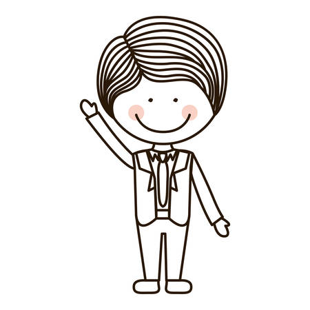 raised hand: silhouette boy with raised hand and formal suit vector illustration