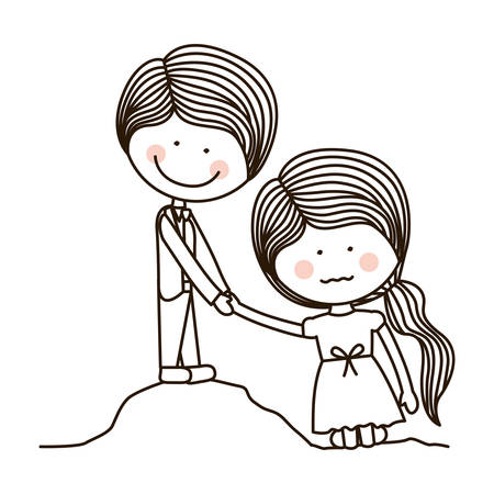 silhouette boy saving girl on quicksand vector illustration Illustration
