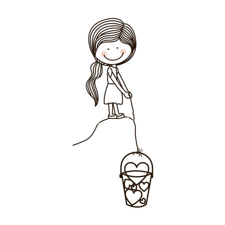 silhouette girl with fishing bucket and shape hearts vector illustration Illustration