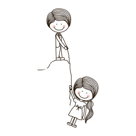 rappel: Boy Holds Girl on cliff with rope vector illustration