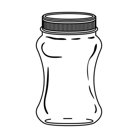decanter: silhouette curved glass container with lid vector illustration Illustration