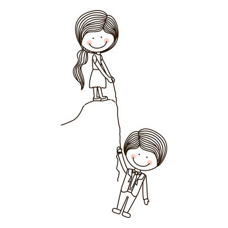 girl Holds boy on cliff with rope vector illustration