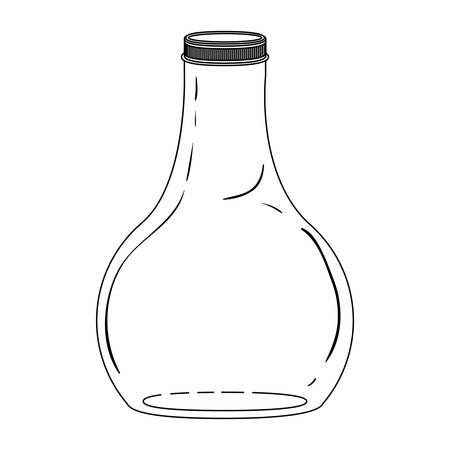 glass bottle: silhouette wide glass bottle down vector illustration Illustration